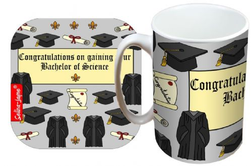 Selina-Jayne Graduation BSc Limited Edition Designer Mug and Coaster Gift Set
